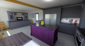 Purple kitchen cupboards